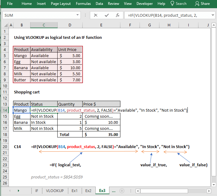 Using VLOOKUP as logical test of an IF function