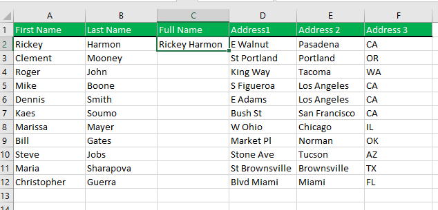 Merging cells using Excel's Flash Fill feature. Just type the first two values from the first name and last name columns.