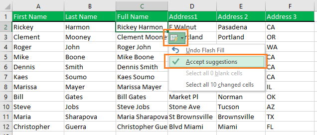 Accept the suggestions that Excel offers to you.