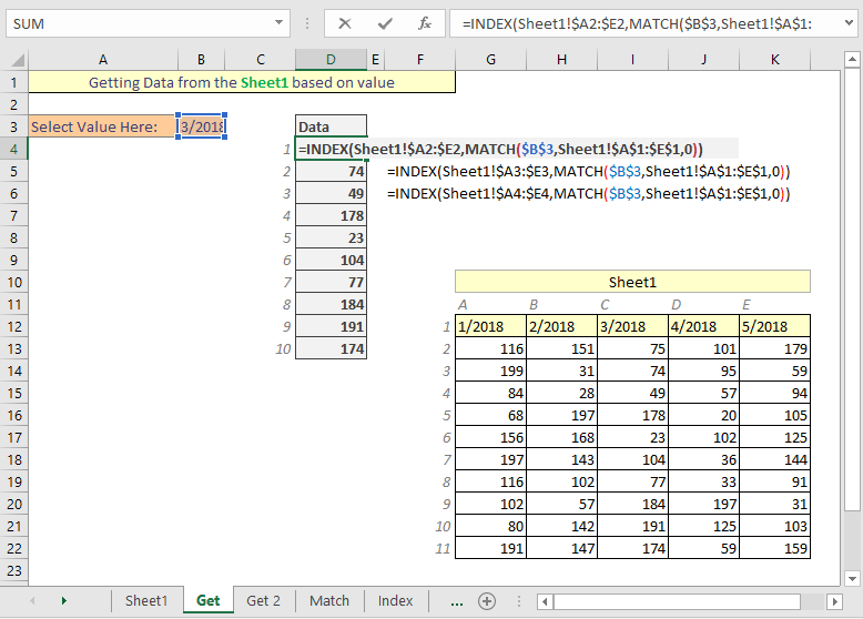 Excel get data from another sheet based on cell value