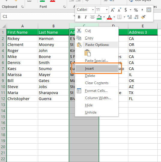 Insert a new column in Excel. Right click and choose the Insert command from the menu.