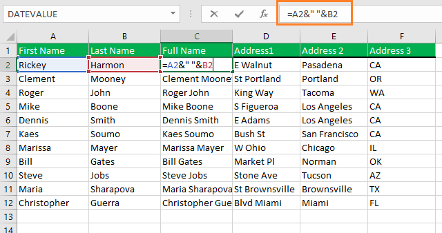 Using AND operator to merge two cells in excel