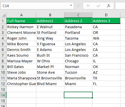First name and last name columns are deleted. Only showing the Full name column.