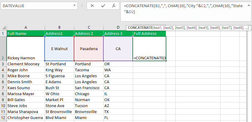 merging three or more cells without no loss of data and adding some extra spaces at the end of the data