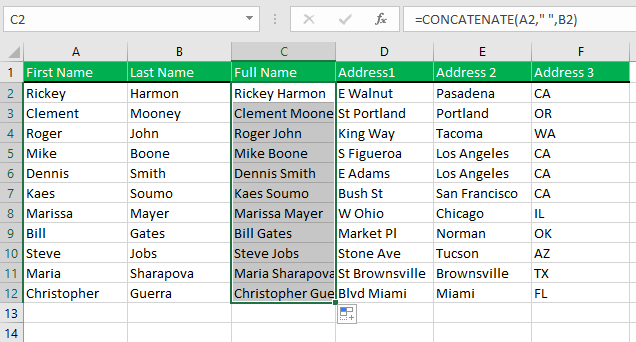 Cells are merged using Excel Concatenate function. Then copy paste the formula for other cells in the column.