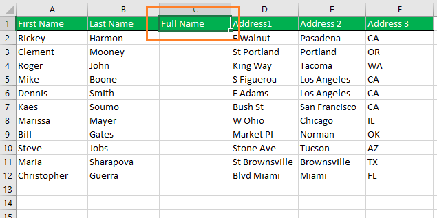 Name the new column heading with value Full Name.