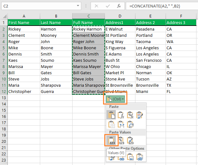 Choose the Values option from the CTRL drop down. It will paste the values as only values. No formula behind the scene.