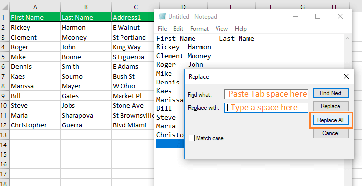 Using Excel Replace dialog box in Excel