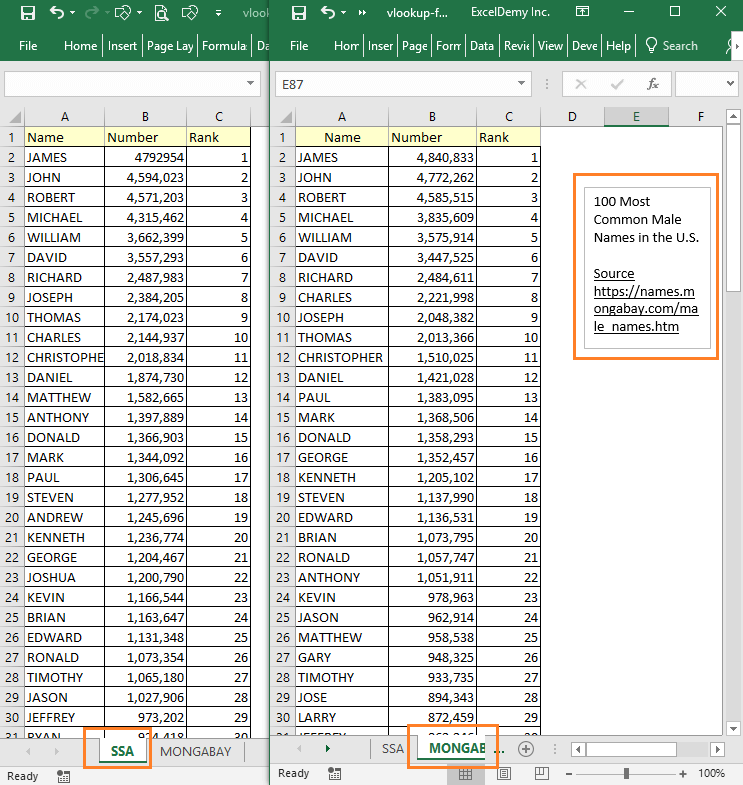VLOOKUP Formula to Compare Two Columns in Different Sheets