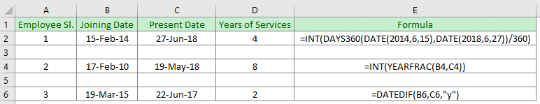 How to calculate years of service in Excel (3 easy ways