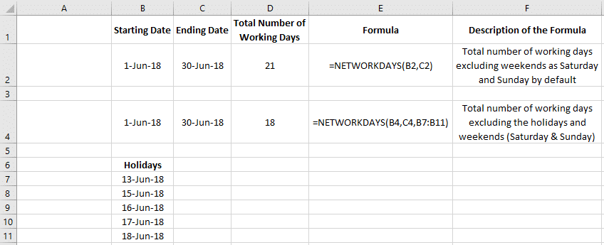 How to Calculate Working Days in Excel Excluding Weekends & Holidays