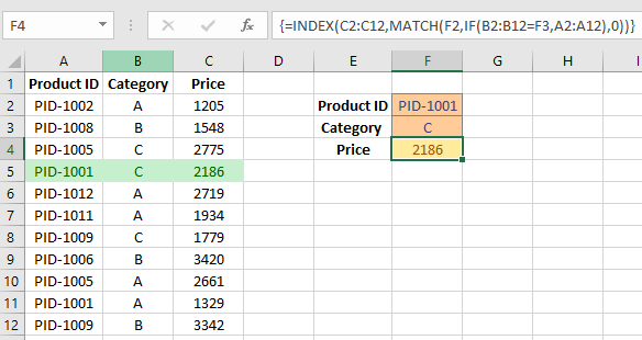 Match Two Columns in Excel and Return a Third - Using Array Formula