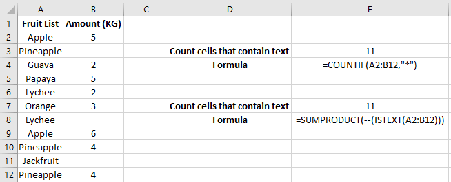 how to make excel count cells with text
