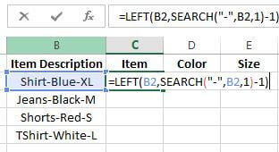 How to Separate Words in Excel Using Formula