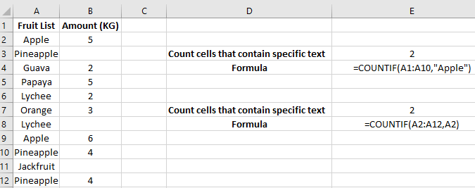 Count Cells that Contain Specific Text