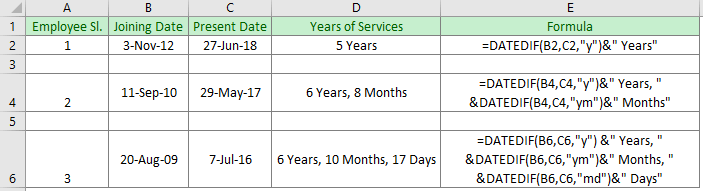 How to Calculate Years of Service in Excel