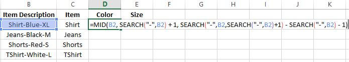 split text in excel formula