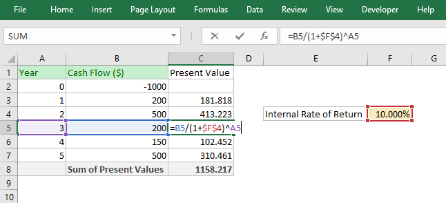how to calculate internal rate of return pdf