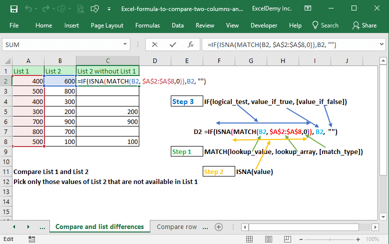 Excel formula to compare two columns and return a value Image 9