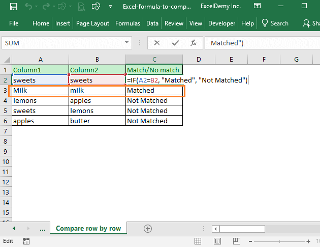 Excel formula to compare two columns and return a value Image 10