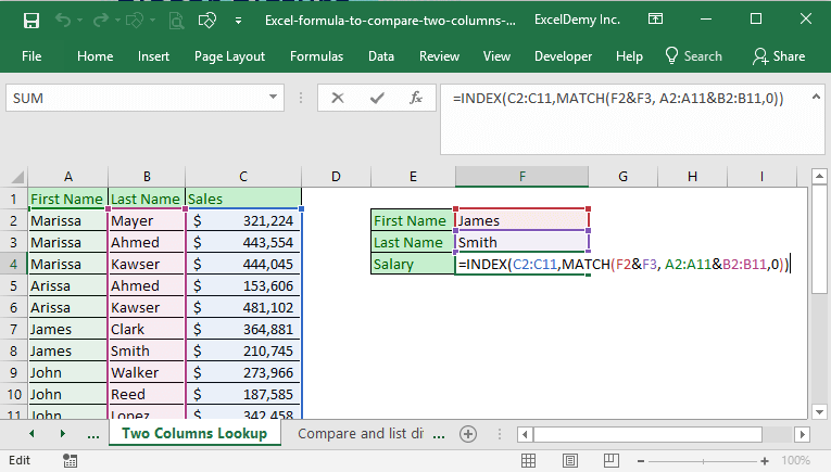 Excel formula to compare two columns and return a value Image 6