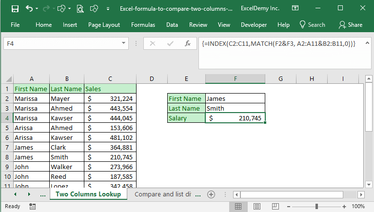 how to use vlookup to compare two columns