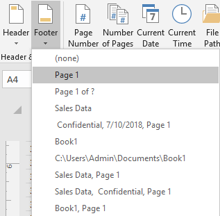 Add The Footer Page 1 To The Current Worksheet | ExcelDemy