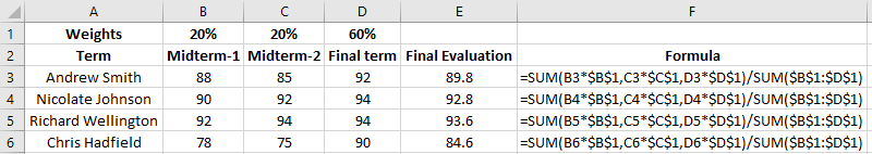 calculate Weighted Average for Multiple Terms