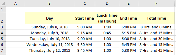 Excel formula to calculate hours worked minus lunch