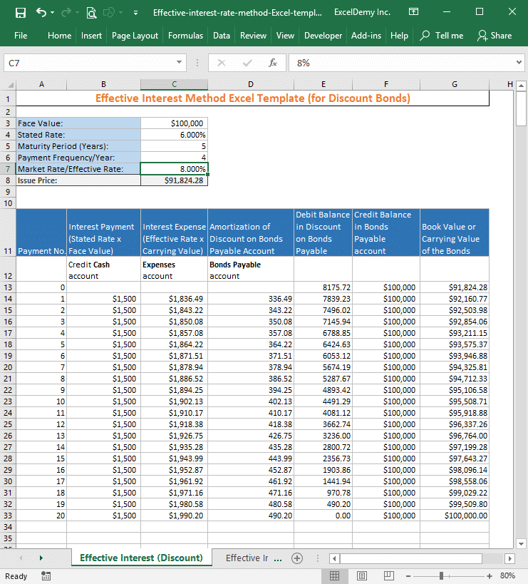 effective interest rate method excel template Image 3