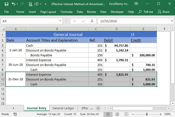 effective interest method of amortization excel Image 7