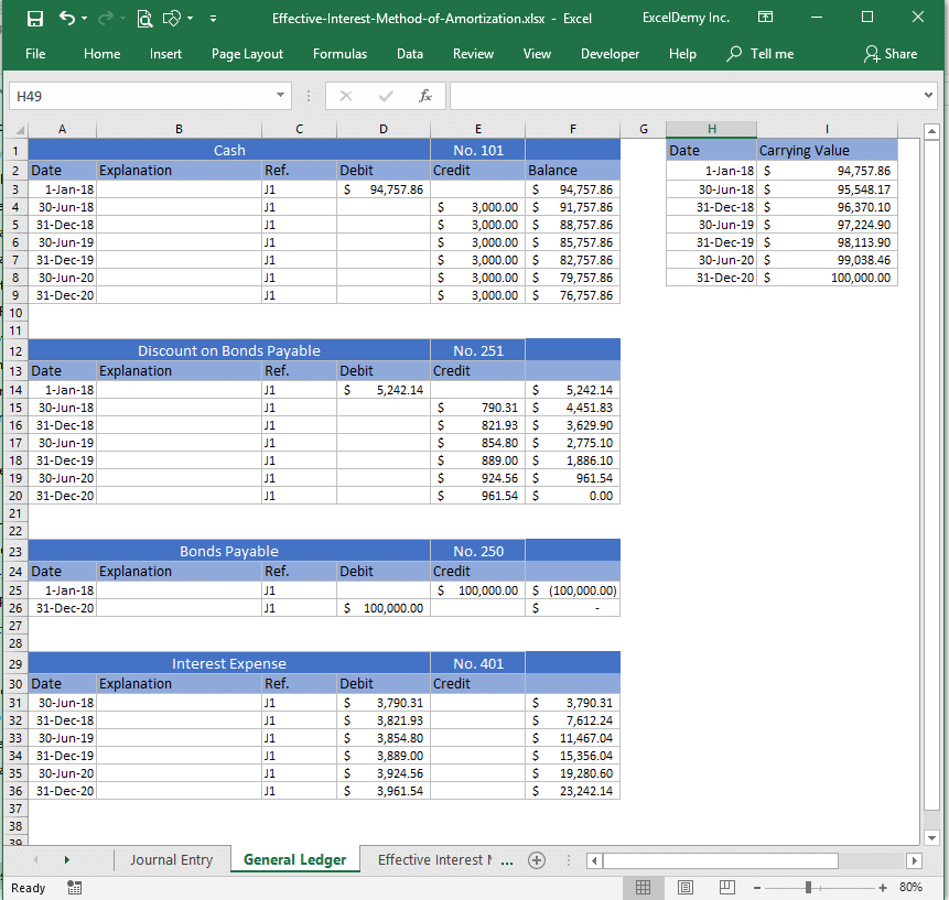 effective interest method of amortization excel Image 9