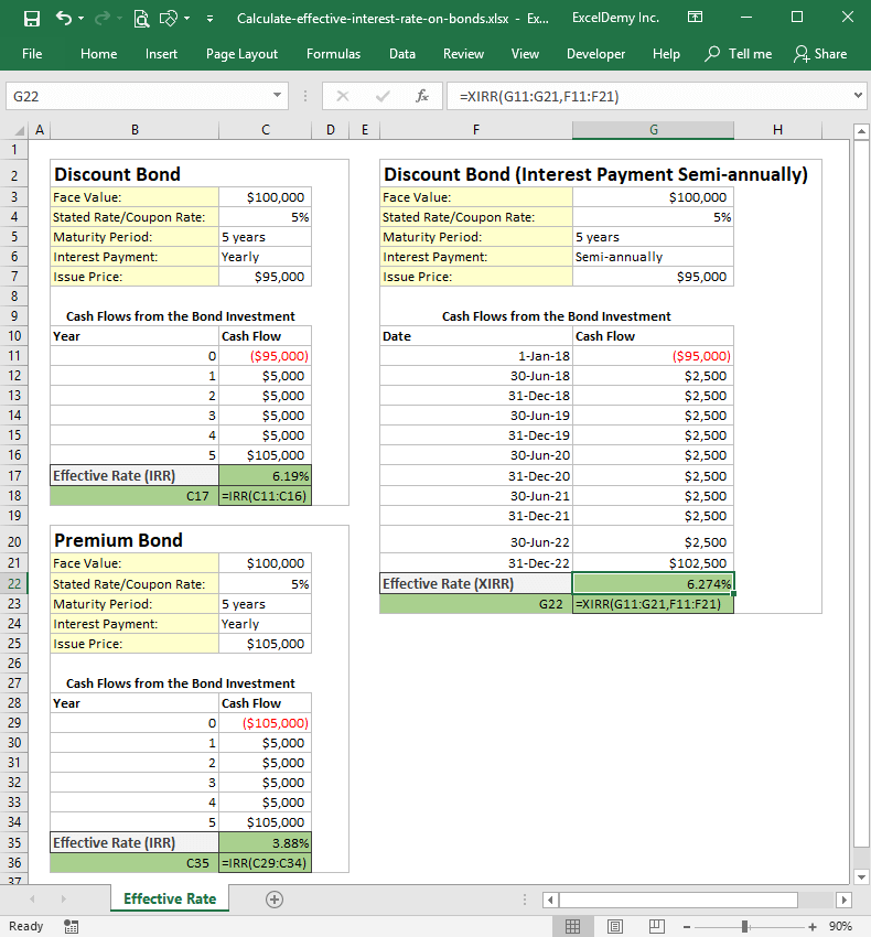 How to calculate effective interest rate on bonds using Excel