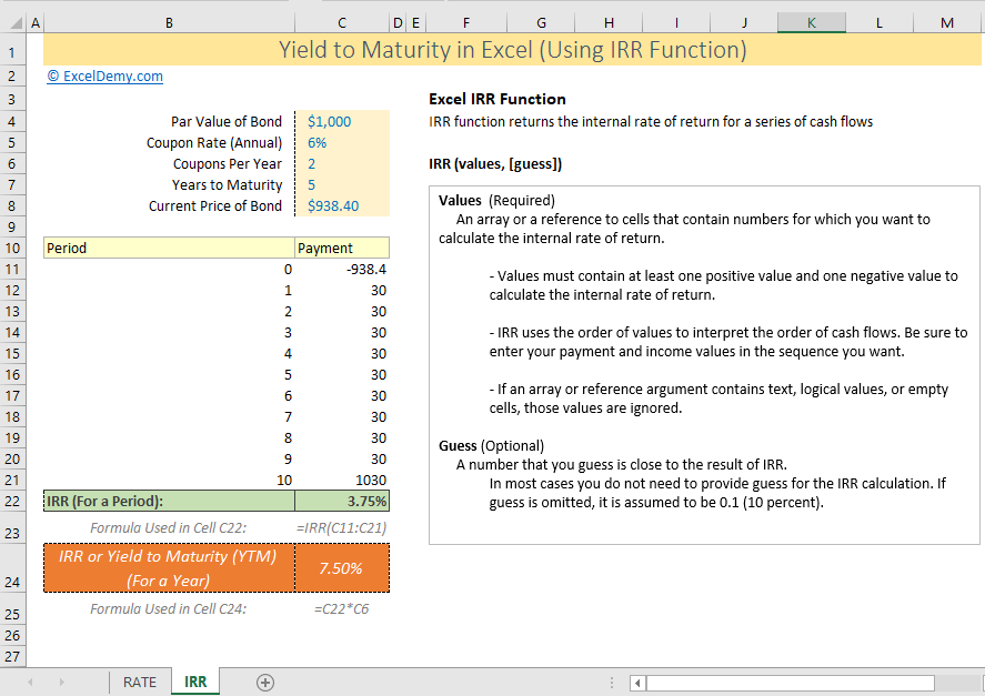 Use Excel IRR function to calculate yield to maturity in excel
