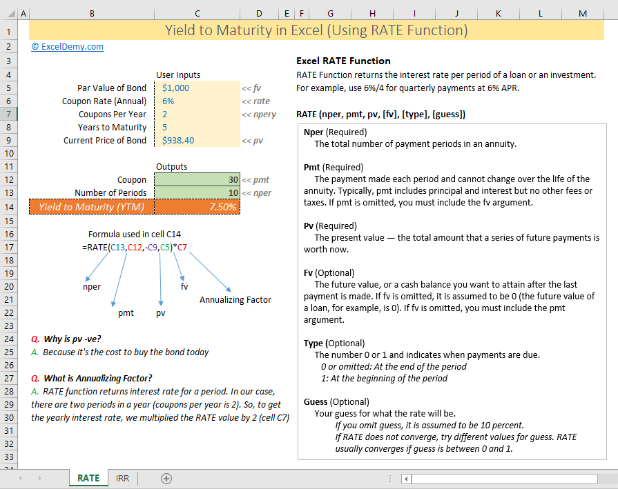 how to calculate yield to maturity in excel using RATE function