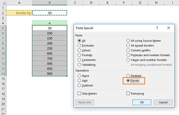 Choose the divide option in the Paste Special dialog box.