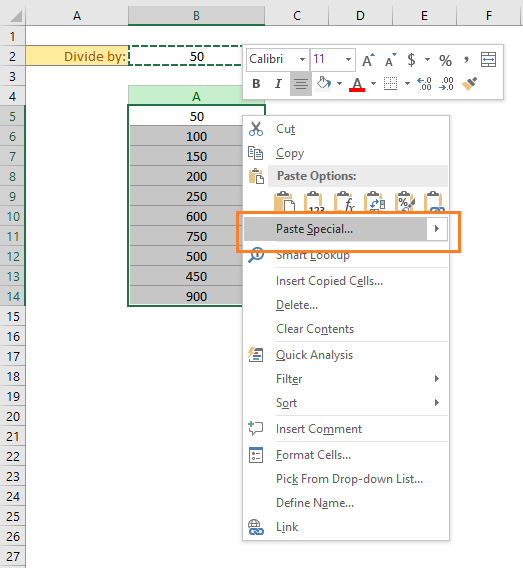 copy a cell. Then select the cells where you want to paste the value. Then right click and finally choose the Paste Special command from the drop down.