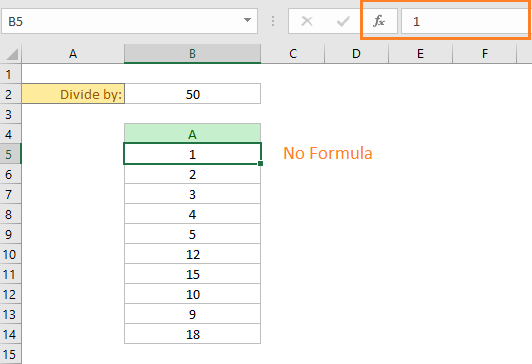The existing cells are replaced by the division results in the same place.