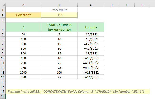 dividing the values of a column by a number but dynamically