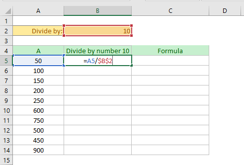 dividing the values of a column by number in dynamic way (in excel)