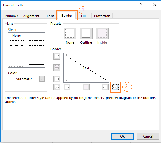 Select the diagonally down border option in the Border window of the Format Cells dialog box.