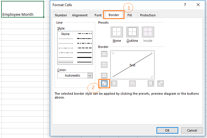 Choose the diagonally up border from the Border window in the format cells dialog box to split a cell diagonally up.