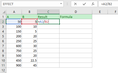 Dividing one column by another column. Placing formula in the cell.