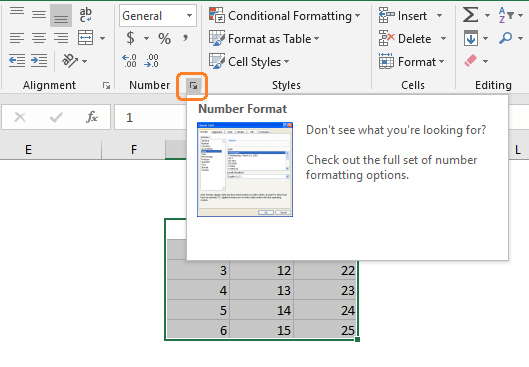 Open the format cells dialog box clicking on the little arrow on the bottom right corner of the Number group of commands.