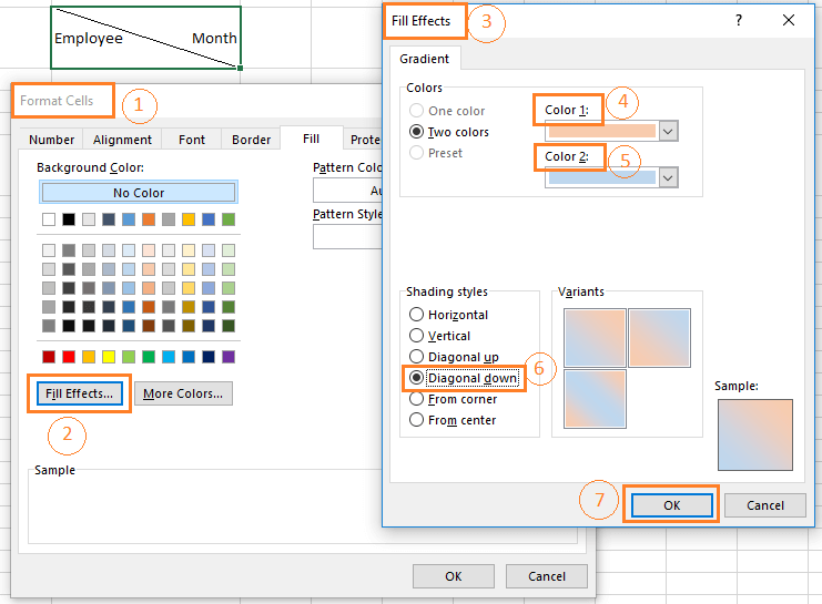 Split a single cell diagonally with two background colors. Click on the Fill Effects command in the Fill window in the Format Cells dialog box. Choose two colors, and choose the Shading Styles from the Fill Effects dialog box.