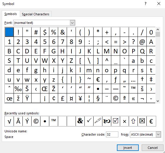 Symbol dialog box Excel