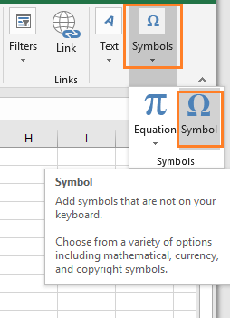 In the Insert group of commands, select the Symbol command. It will open the Symbol dialog box.