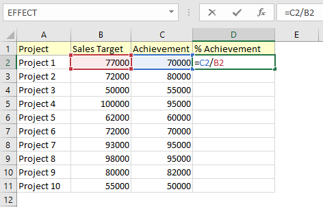 calculate percentage of grand total in excel using formula directly