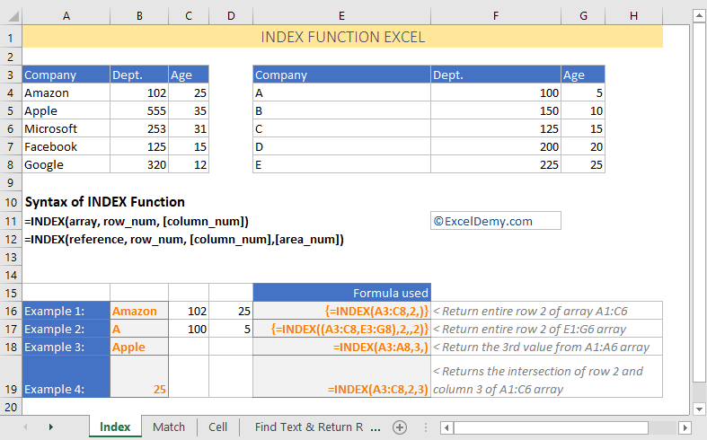 Excel index function with example