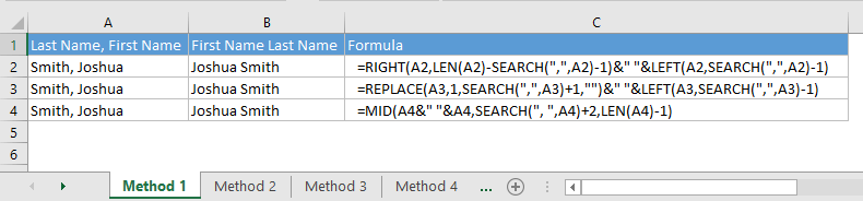 Reverse first name and last name in Excel